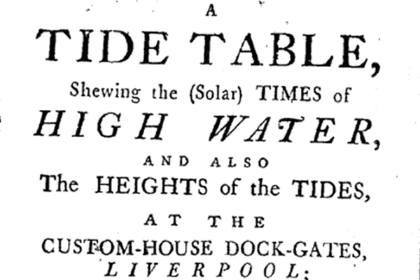 Tide table for Liverpool for 1781 produced by the Holdens